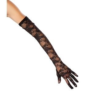 Elbow Length Black Lace Gloves